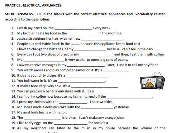 Electrical Appliances: Vocabulary Worksheet