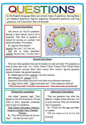Free Worksheets worksheet simple past : Questions Grammar Guide (types of questions)