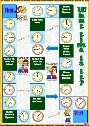 printable time telling game telling the time boardgame 5294