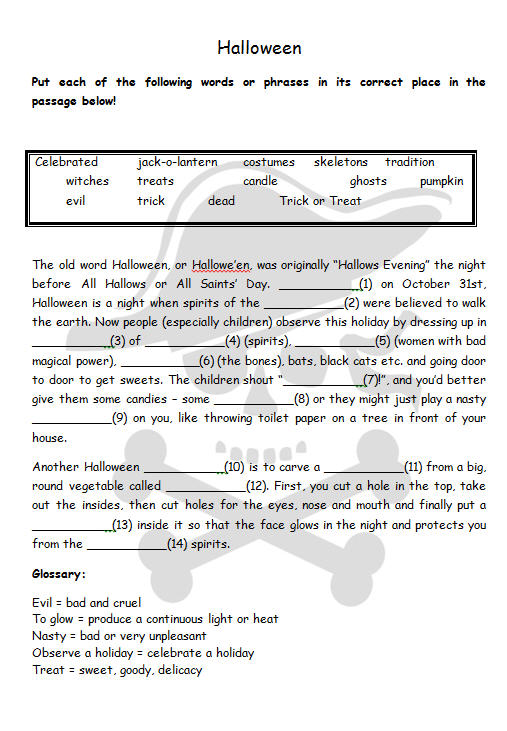 for practicing halloween vocabulary can be used for a kind of a warm up activities or you can use a halloween wordle first then use this cloze activity for - Bogglesworld Halloween