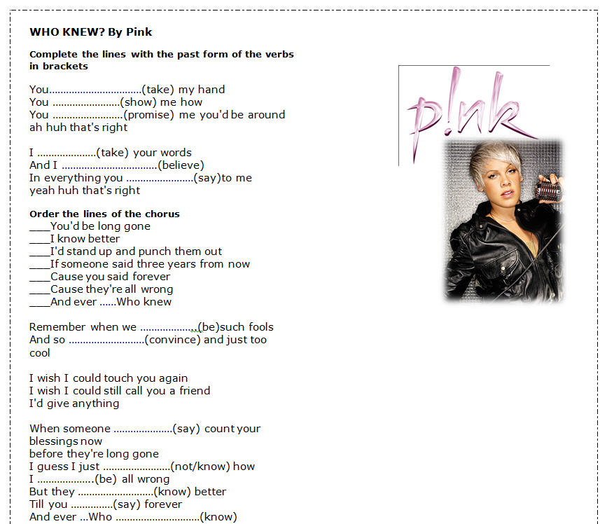 Song Worksheet Who Knew By Pink