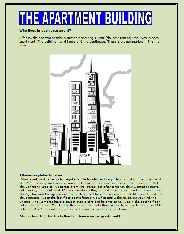 the apartment building reading worksheet