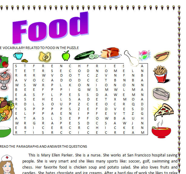 food word puzzle search countable uncountable nouns vocabulary