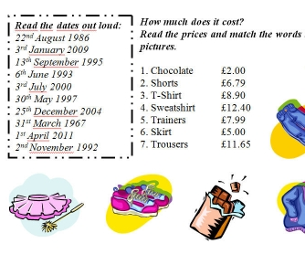 Ordinal Numbers, Prices and Dates Worksheet