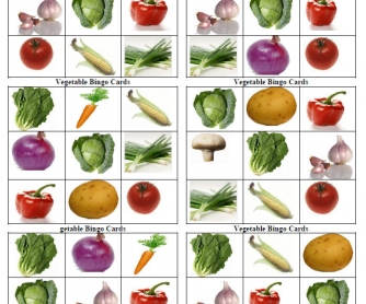 Vegetable Bingo Cards