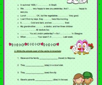 Simple Past Tense Elementary Worksheet