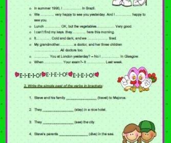 Simple Past Tense Elementary Worksheet