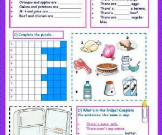 Food, Indefinite Articles, Verb To Like Worksheet