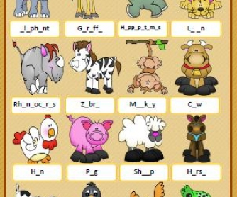 Animals Missing Letters Worksheet