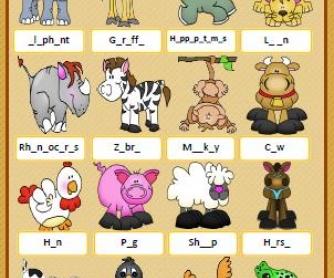 Animals Missing Letters Worksheet