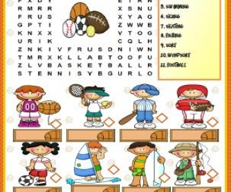 Sports Elementary Wordsearch Puzzle