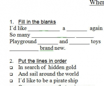 Song Worksheet: When I Needed You by Erasure