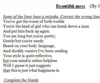 Song Worksheet: Beautiful Mess by Jason Mraz