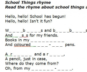 School Things Rhyme
