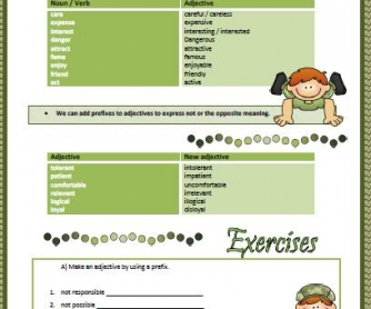 Adjective Formation Worksheet