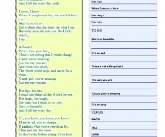 Song Worksheet: Just The Way You Are by Bruno Mars [WITH VIDEO]