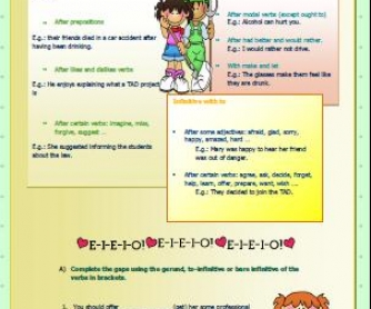 Gerund and Infinitive: Elementary Worksheet