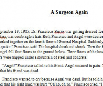 A Surgeon Again: Reading Worksheet