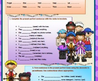 Present Perfect Tense: Elementary Worksheet