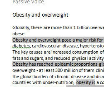 Passive Voice Practice: Obesity and Overweight