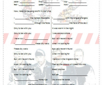 Song Worksheet: I Still Haven't Found What I'm Looking For by U2