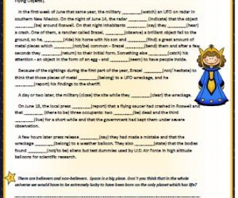 Space Is A Big Place: Simple Past Worksheet