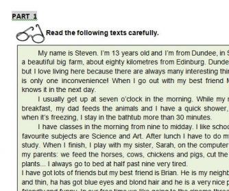 Written Test: School, Family and Friends
