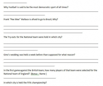 Movie Worksheet: The Game Of Their Lives