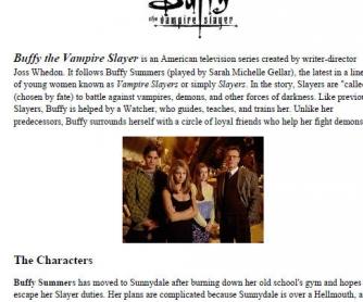 Movie Worksheet: Buffy the Vampire Slayer [Hush]