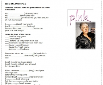 Song Worksheet: Who Knew by Pink