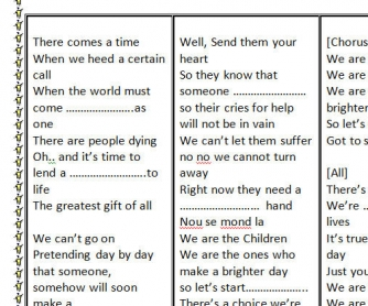 Song Worksheet: We Are The World