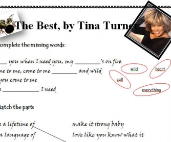 Song Worksheet: The Best by Tina Turner