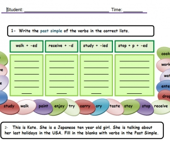 Past Simple - Regular Verbs Table