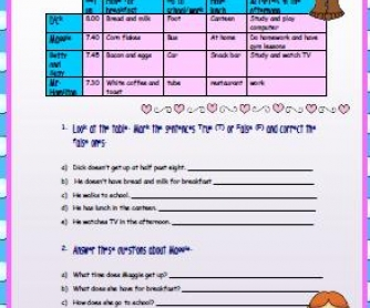 Simple Present and Daily Routines Worksheet