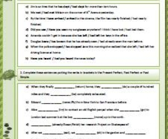 Present Perfect, Past Simple and Past Perfect Worksheet
