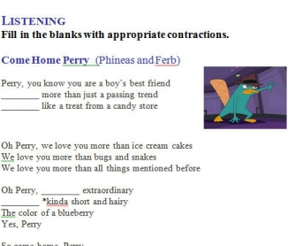 Song Worksheet: Come Home, Perry from Phineas and Ferb