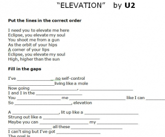 Song Worksheet: Elevation by U2