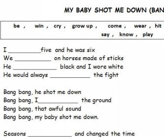 Song Worksheet: My Baby Shot Me Down (Kill Bill Soundtrack)