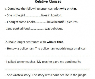 Relative Clauses Activity