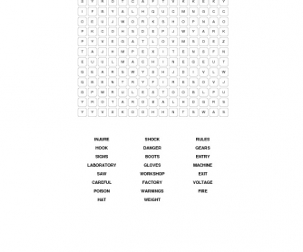 Safety and Hazards Word Search Puzzle