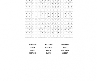 Personality Adjectives Word Search Puzzle