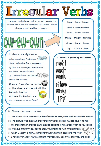 irregular verbs  patterns of formation  worksheet  1