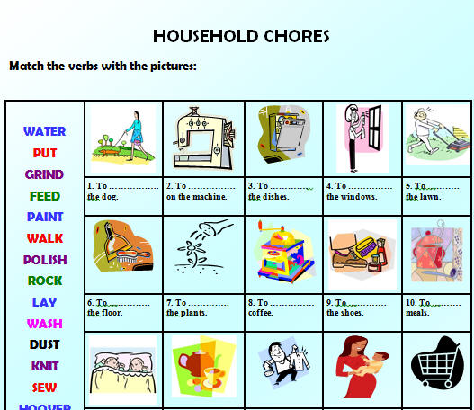 Free Coloring Pages Of Flashcards House Chores