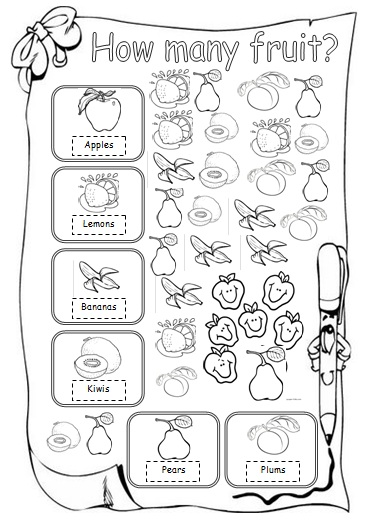 how many fruit beginner worksheet. Black Bedroom Furniture Sets. Home Design Ideas