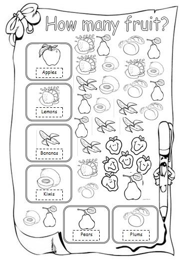 how many fruit beginner worksheet. Black Bedroom Furniture Sets. Home Design Ideas