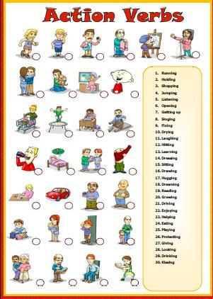 Awesome Action Verbs Matching Activity And Action Verbs