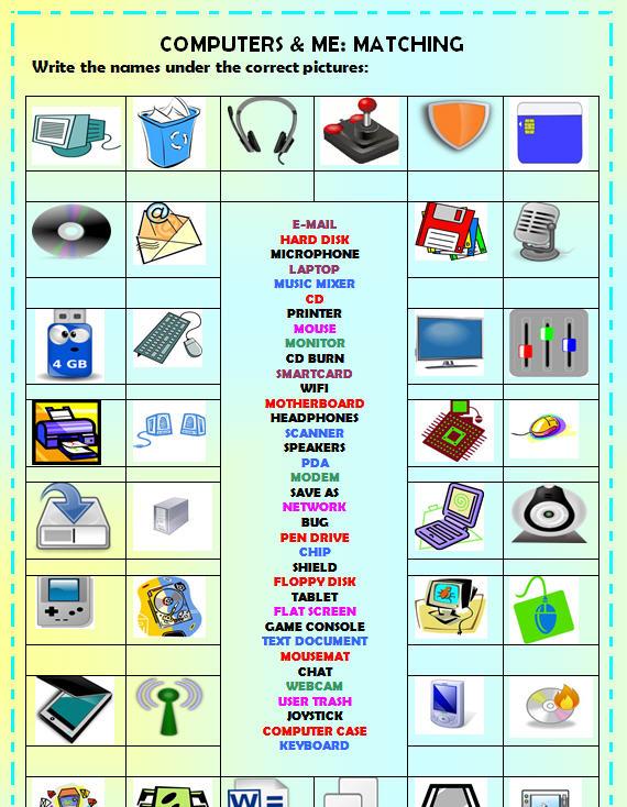 Computers Me Matching Worksheet