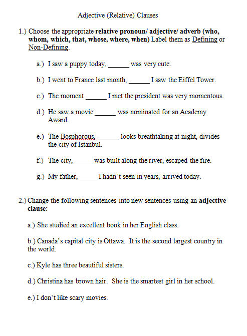 Adjective Clauses Worksheet
