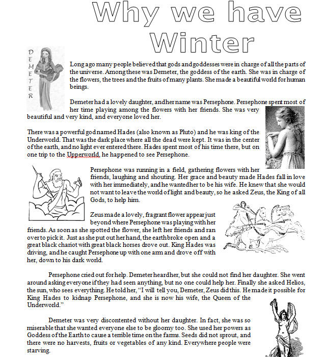 Why We Have Winter: Ancient Greek Legend