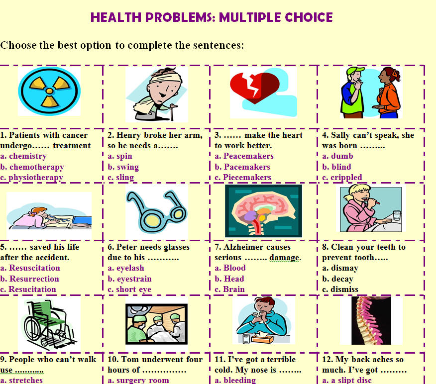 Problems Multiple Choice Worksheet – Health Worksheet